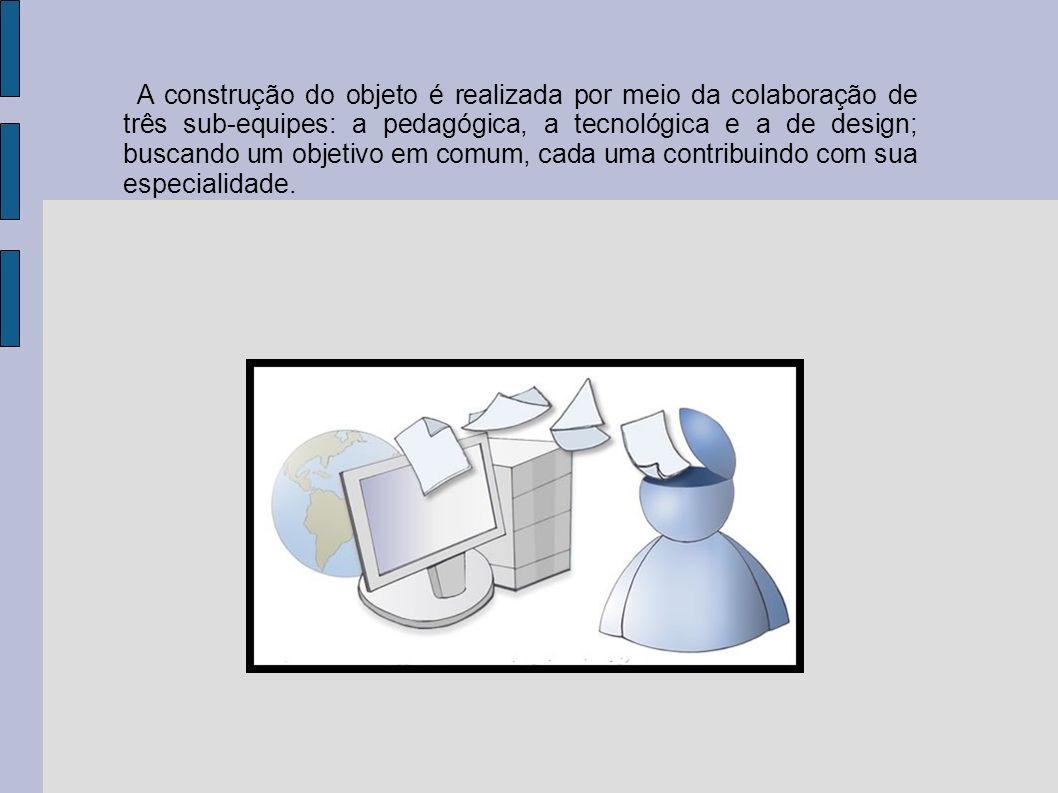 A construção do objeto é realizada por meio da colaboração de três sub-equipes: a pedagógica, a tecnológica e a de design; buscando um objetivo em com