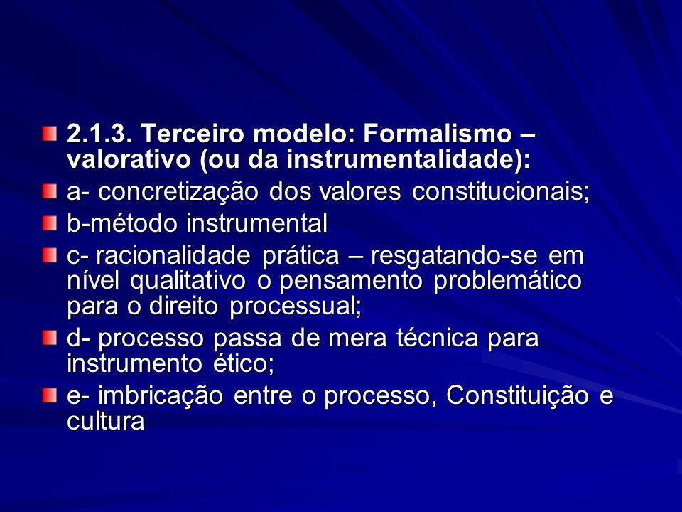 2.1.3. Terceiro modelo: Formalismo – valorativo (ou da instrumentalidade): a- concretização dos valores constitucionais; b-método instrumental c- raci