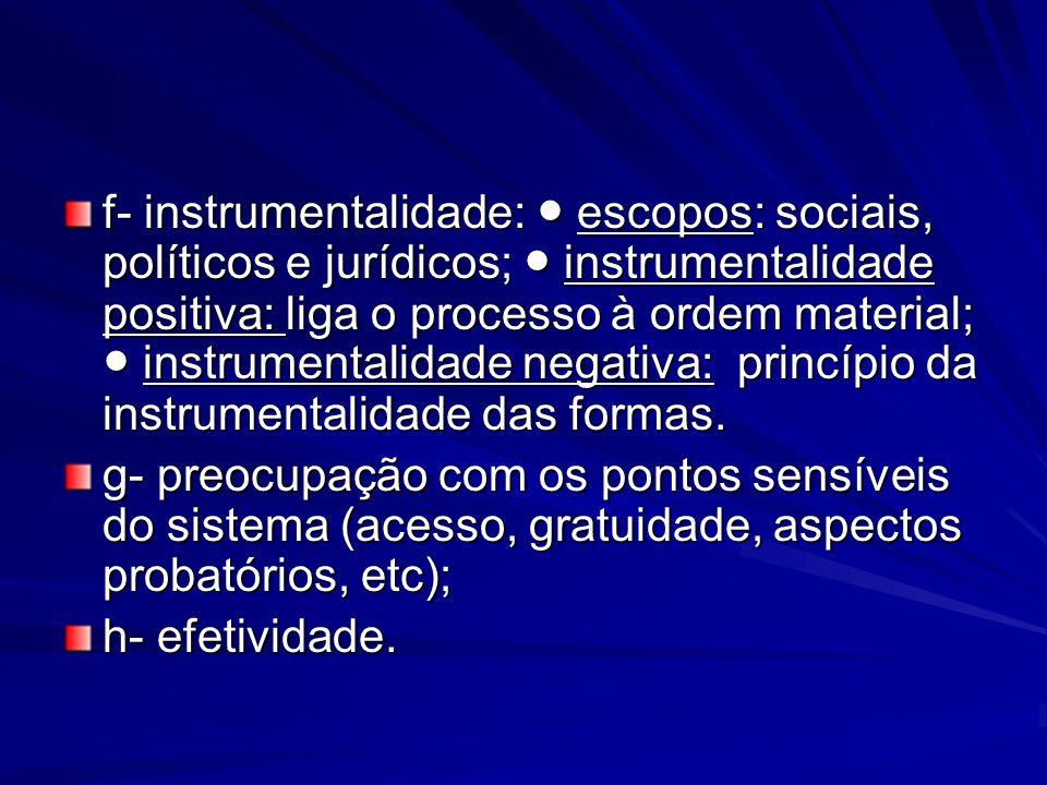 f- instrumentalidade: escopos: sociais, políticos e jurídicos; instrumentalidade positiva: liga o processo à ordem material; instrumentalidade negativ