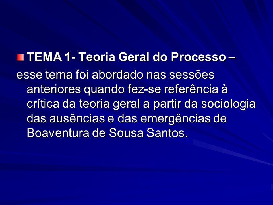 TEMA 1- Teoria Geral do Processo – esse tema foi abordado nas sessões anteriores quando fez-se referência à crítica da teoria geral a partir da sociol