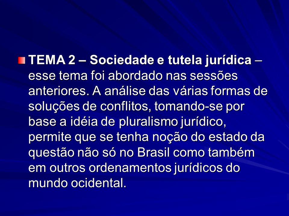 TEMA 2 – Sociedade e tutela jurídica – esse tema foi abordado nas sessões anteriores. A análise das várias formas de soluções de conflitos, tomando-se