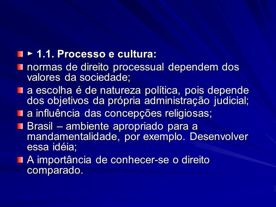 1.1. Processo e cultura: 1.1. Processo e cultura: normas de direito processual dependem dos valores da sociedade; a escolha é de natureza política, po