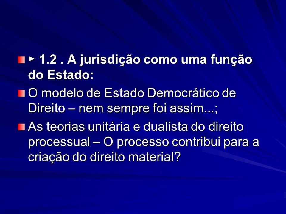 1.2. A jurisdição como uma função do Estado: 1.2. A jurisdição como uma função do Estado: O modelo de Estado Democrático de Direito – nem sempre foi a
