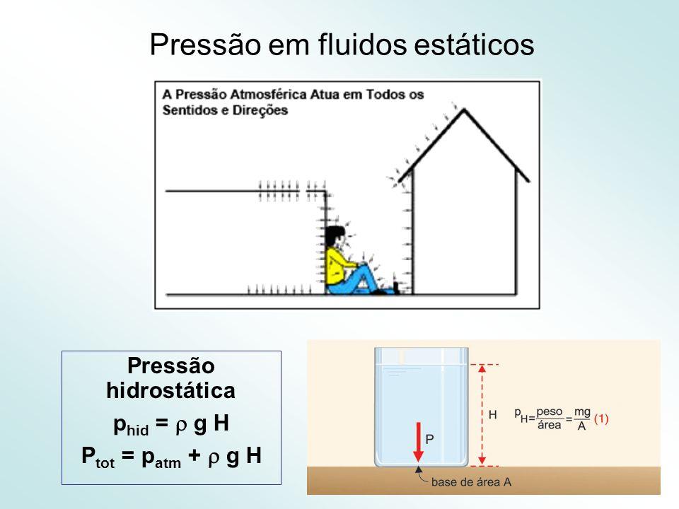 18 Pressão em fluidos estáticos Pressão hidrostática p hid = g H P tot = p atm + g H