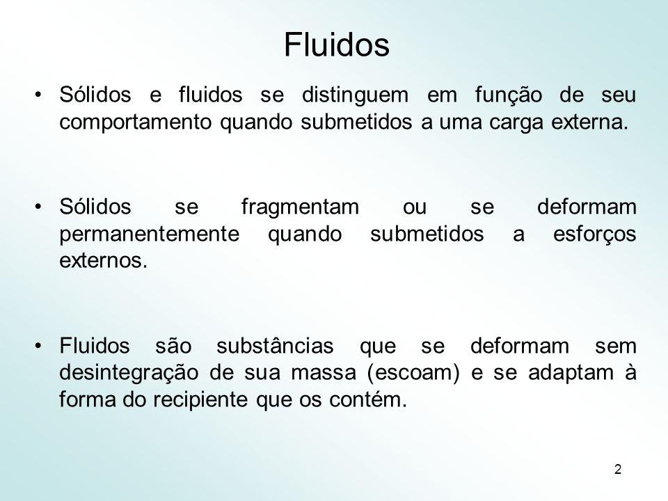 2 Fluidos Sólidos e fluidos se distinguem em função de seu comportamento quando submetidos a uma carga externa.