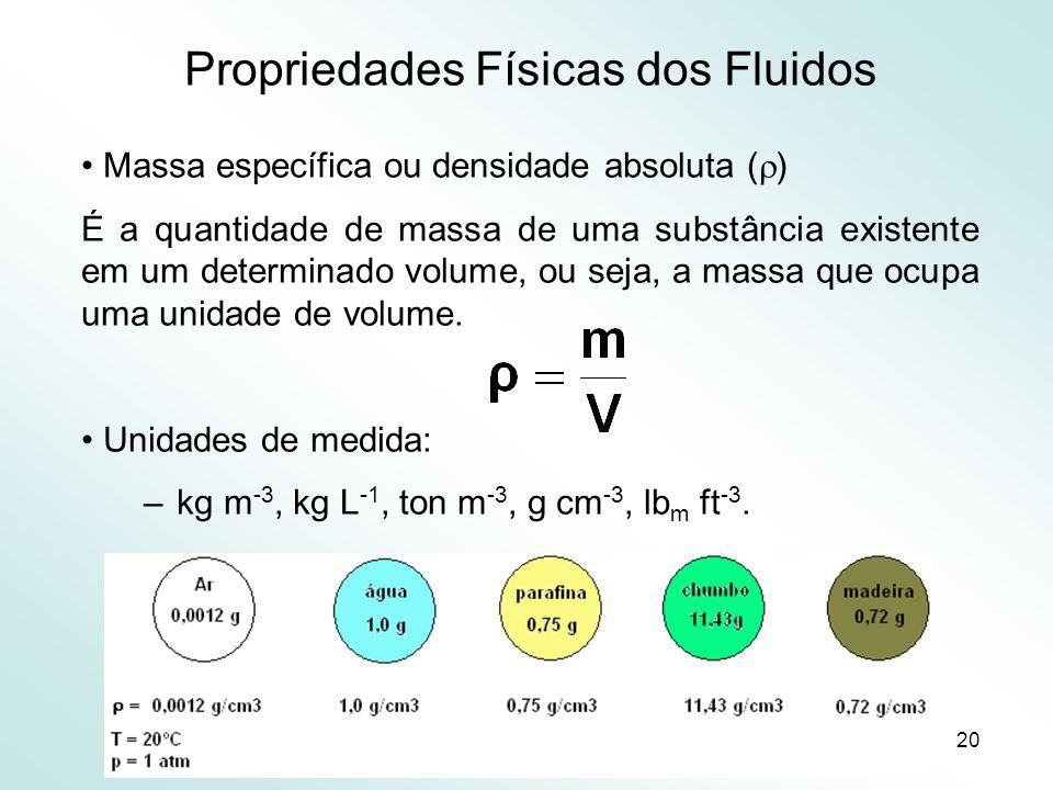 20 Propriedades Físicas dos Fluidos Massa específica ou densidade absoluta ( ) É a quantidade de massa de uma substância existente em um determinado volume, ou seja, a massa que ocupa uma unidade de volume.