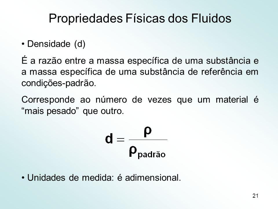 21 Propriedades Físicas dos Fluidos Densidade (d) É a razão entre a massa específica de uma substância e a massa específica de uma substância de referência em condições-padrão.