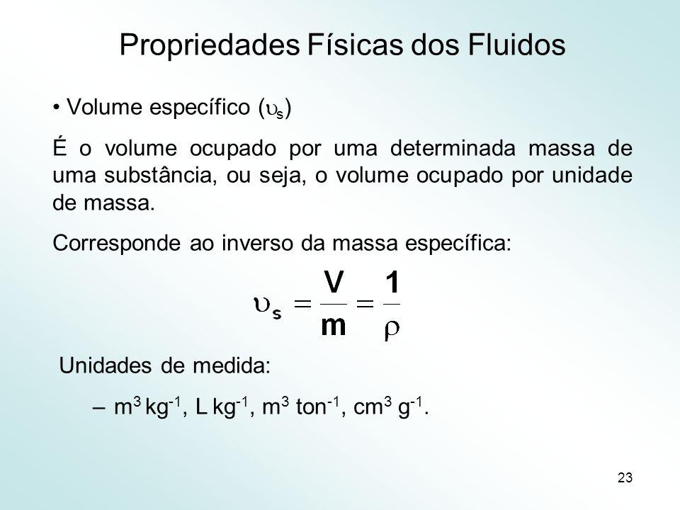 23 Propriedades Físicas dos Fluidos Volume específico ( s ) É o volume ocupado por uma determinada massa de uma substância, ou seja, o volume ocupado por unidade de massa.