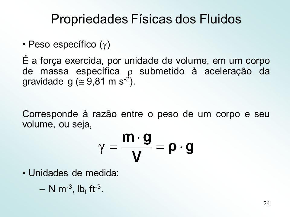 24 Propriedades Físicas dos Fluidos Peso específico ( ) É a força exercida, por unidade de volume, em um corpo de massa específica submetido à aceleração da gravidade g ( 9,81 m s -2 ).