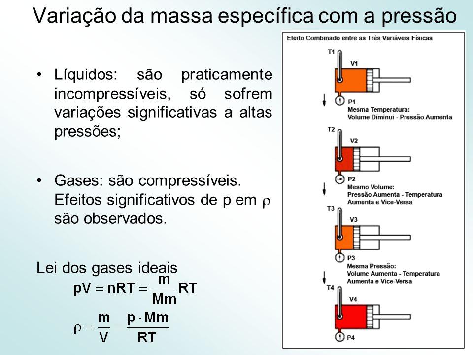 27 Variação da massa específica com a pressão Líquidos: são praticamente incompressíveis, só sofrem variações significativas a altas pressões; Gases: são compressíveis.