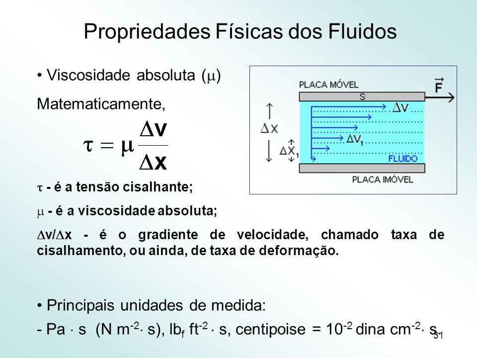 31 Propriedades Físicas dos Fluidos Viscosidade absoluta ( ) Matematicamente, - é a tensão cisalhante; - é a viscosidade absoluta; v/ x - é o gradiente de velocidade, chamado taxa de cisalhamento, ou ainda, de taxa de deformação.