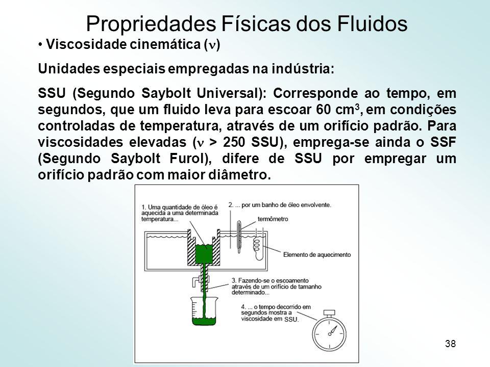 38 Propriedades Físicas dos Fluidos Viscosidade cinemática ( ) Unidades especiais empregadas na indústria: SSU (Segundo Saybolt Universal): Corresponde ao tempo, em segundos, que um fluido leva para escoar 60 cm 3, em condições controladas de temperatura, através de um orifício padrão.