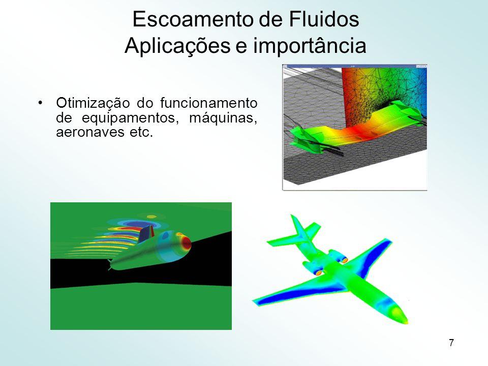 7 Escoamento de Fluidos Aplicações e importância Otimização do funcionamento de equipamentos, máquinas, aeronaves etc.
