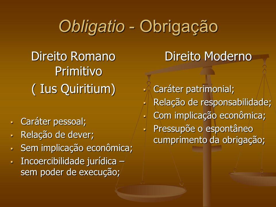 Obligatio - Obrigação Direito Romano Primitivo ( Ius Quiritium) Caráter pessoal; Caráter pessoal; Relação de dever; Relação de dever; Sem implicação e