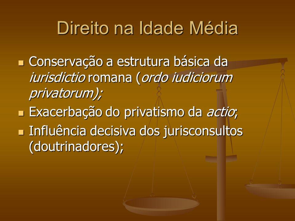 Direito na Idade Média Conservação a estrutura básica da iurisdictio romana (ordo iudiciorum privatorum); Conservação a estrutura básica da iurisdicti