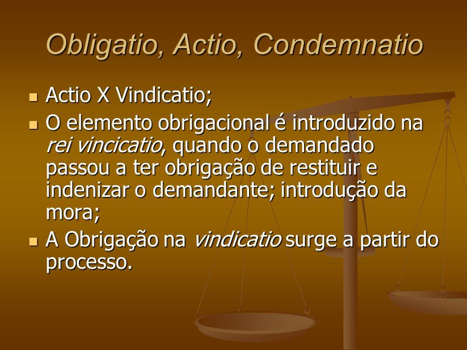 Obligatio, Actio, Condemnatio Actio X Vindicatio; Actio X Vindicatio; O elemento obrigacional é introduzido na rei vincicatio, quando o demandado pass