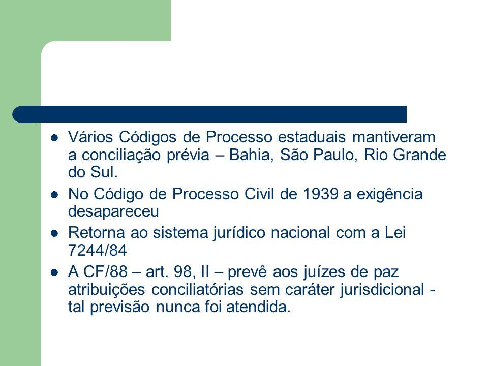 Vários Códigos de Processo estaduais mantiveram a conciliação prévia – Bahia, São Paulo, Rio Grande do Sul. No Código de Processo Civil de 1939 a exig