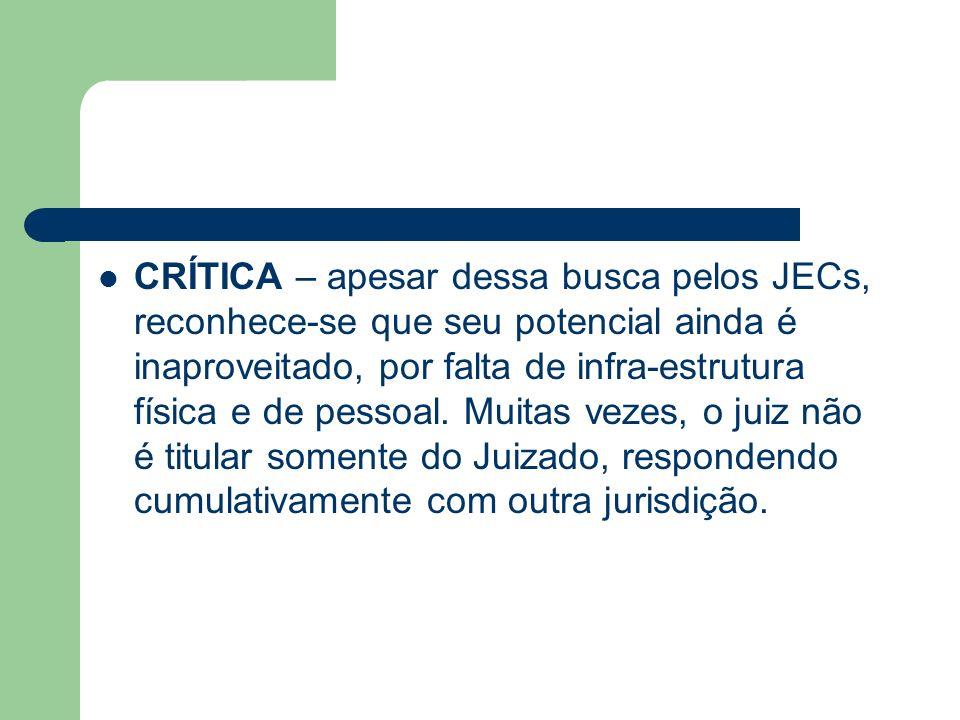 CRÍTICA – apesar dessa busca pelos JECs, reconhece-se que seu potencial ainda é inaproveitado, por falta de infra-estrutura física e de pessoal. Muita