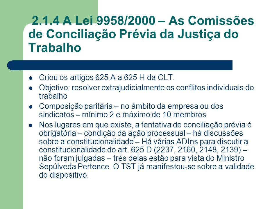 2.1.4 A Lei 9958/2000 – As Comissões de Conciliação Prévia da Justiça do Trabalho Criou os artigos 625 A a 625 H da CLT. Objetivo: resolver extrajudic