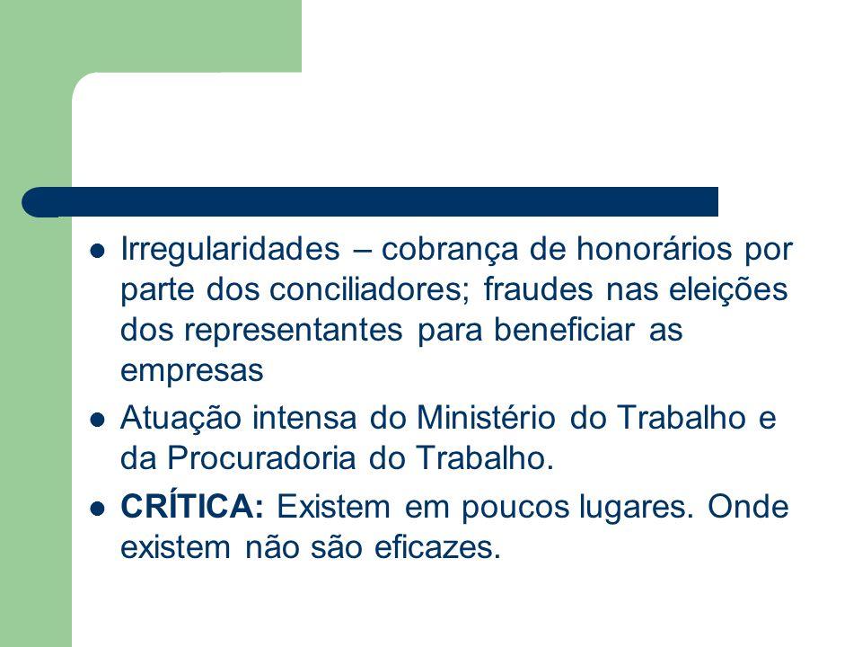 Irregularidades – cobrança de honorários por parte dos conciliadores; fraudes nas eleições dos representantes para beneficiar as empresas Atuação inte
