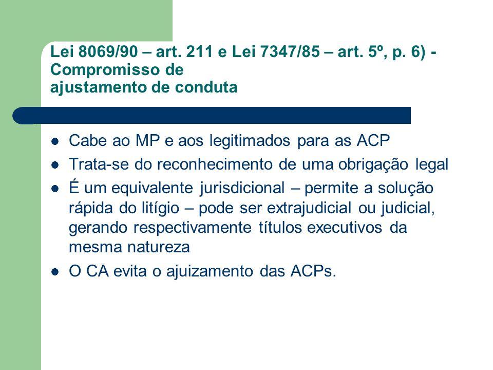 Lei 8069/90 – art. 211 e Lei 7347/85 – art. 5º, p. 6) - Compromisso de ajustamento de conduta Cabe ao MP e aos legitimados para as ACP Trata-se do rec
