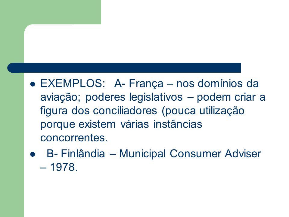 EXEMPLOS: A- França – nos domínios da aviação; poderes legislativos – podem criar a figura dos conciliadores (pouca utilização porque existem várias i