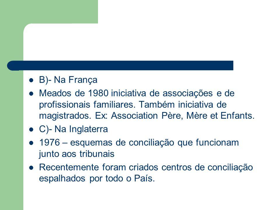 B)- Na França Meados de 1980 iniciativa de associações e de profissionais familiares. Também iniciativa de magistrados. Ex: Association Père, Mère et