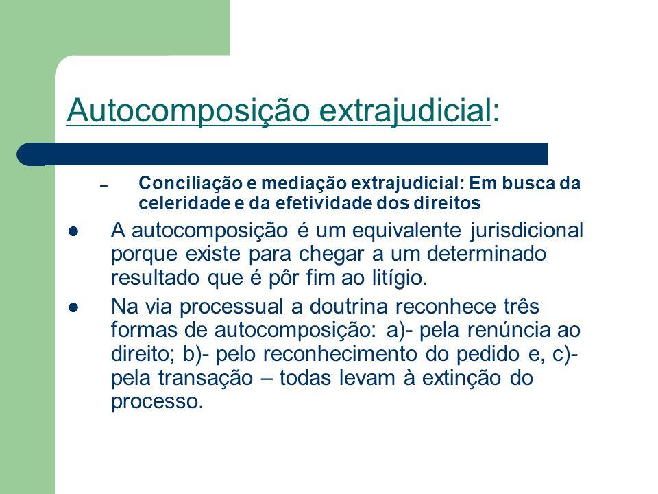 Autocomposição extrajudicial: – Conciliação e mediação extrajudicial: Em busca da celeridade e da efetividade dos direitos A autocomposição é um equiv
