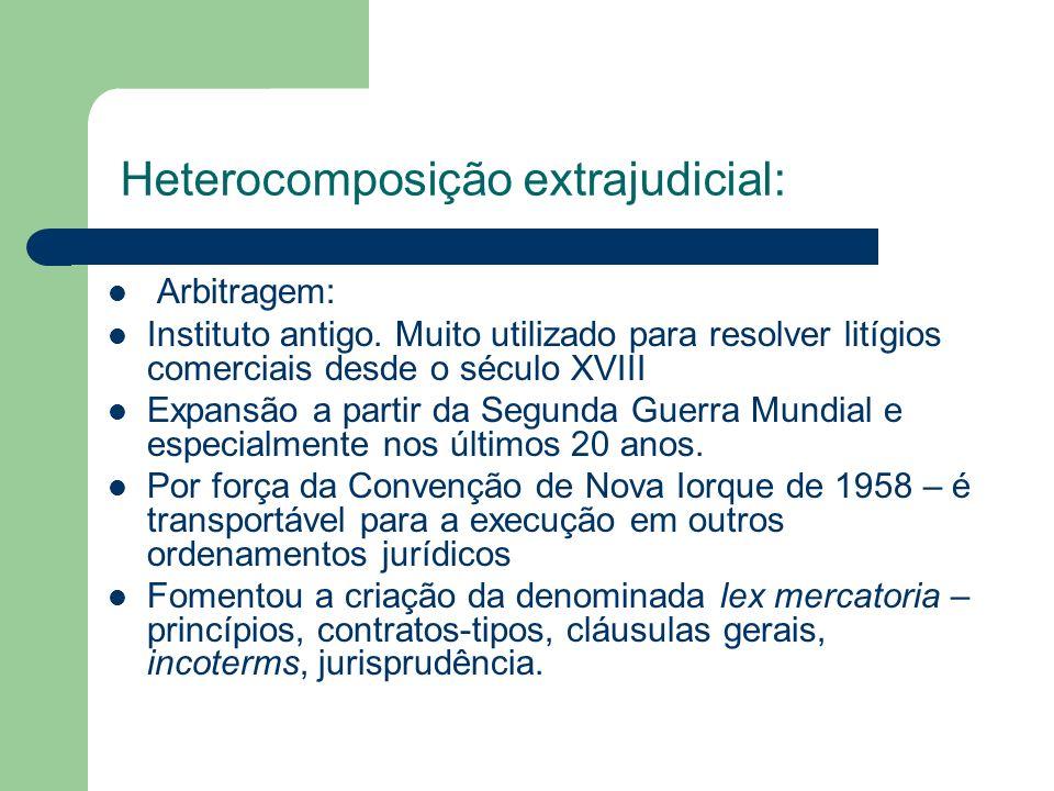 Heterocomposição extrajudicial: Arbitragem: Instituto antigo. Muito utilizado para resolver litígios comerciais desde o século XVIII Expansão a partir