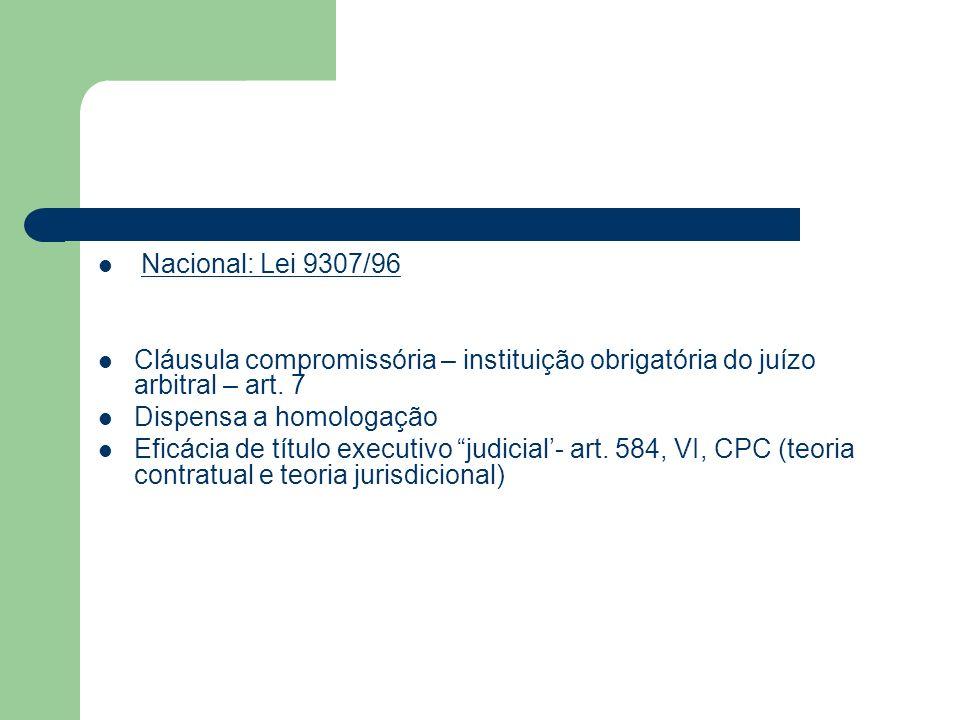 Nacional: Lei 9307/96 Cláusula compromissória – instituição obrigatória do juízo arbitral – art. 7 Dispensa a homologação Eficácia de título executivo
