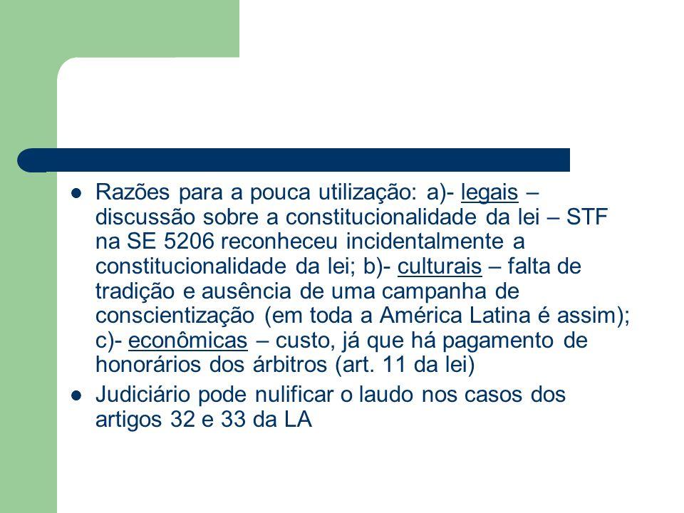 Razões para a pouca utilização: a)- legais – discussão sobre a constitucionalidade da lei – STF na SE 5206 reconheceu incidentalmente a constitucional