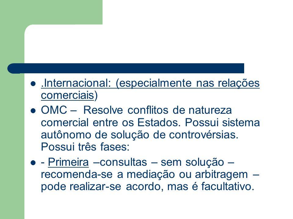 .Internacional: (especialmente nas relações comerciais) OMC – Resolve conflitos de natureza comercial entre os Estados. Possui sistema autônomo de sol