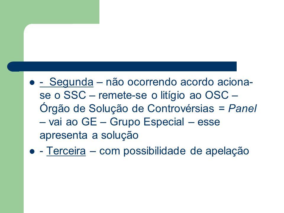 - Segunda – não ocorrendo acordo aciona- se o SSC – remete-se o litígio ao OSC – Órgão de Solução de Controvérsias = Panel – vai ao GE – Grupo Especia