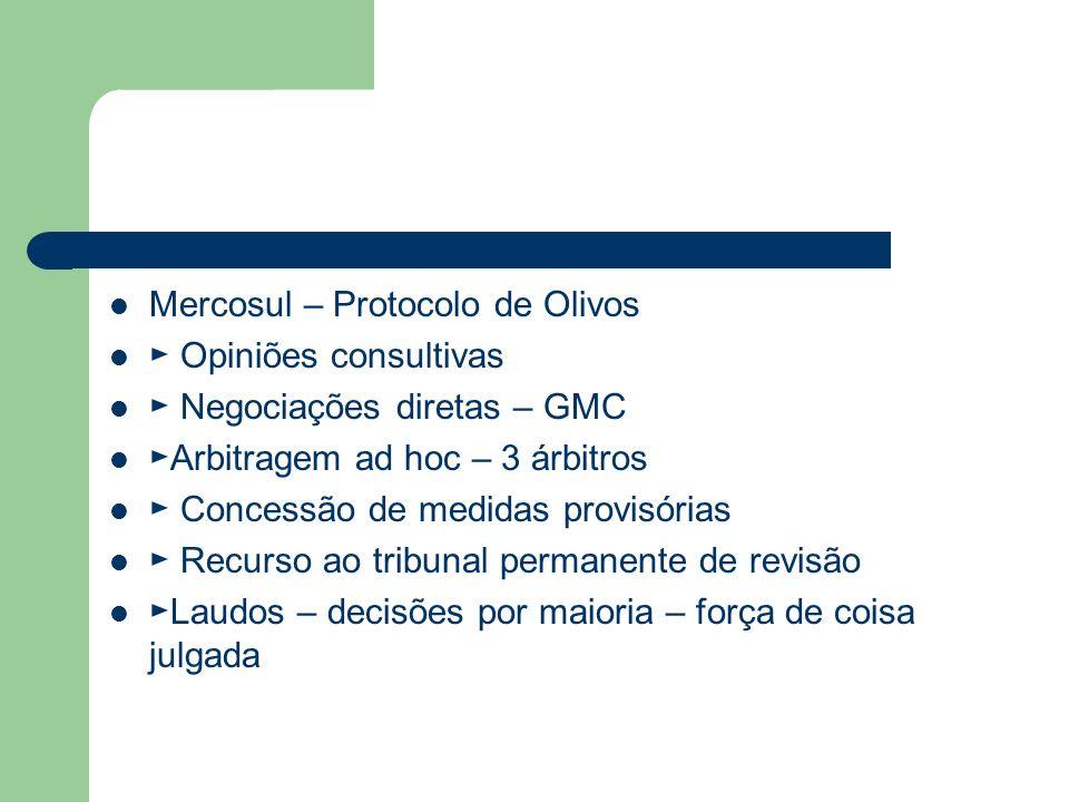 Mercosul – Protocolo de Olivos Opiniões consultivas Negociações diretas – GMC Arbitragem ad hoc – 3 árbitros Concessão de medidas provisórias Recurso
