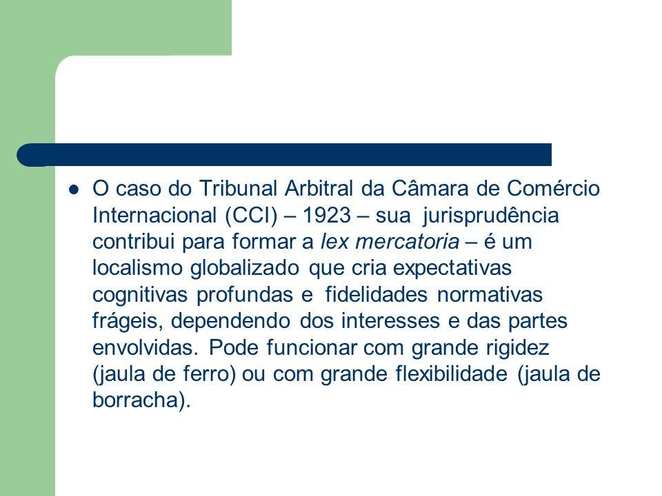 O caso do Tribunal Arbitral da Câmara de Comércio Internacional (CCI) – 1923 – sua jurisprudência contribui para formar a lex mercatoria – é um locali