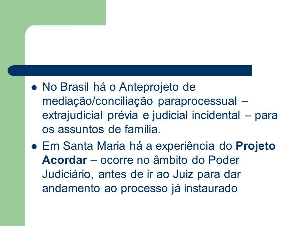 No Brasil há o Anteprojeto de mediação/conciliação paraprocessual – extrajudicial prévia e judicial incidental – para os assuntos de família. Em Santa