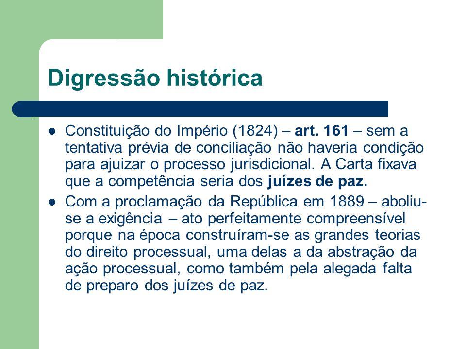 Digressão histórica Constituição do Império (1824) – art. 161 – sem a tentativa prévia de conciliação não haveria condição para ajuizar o processo jur