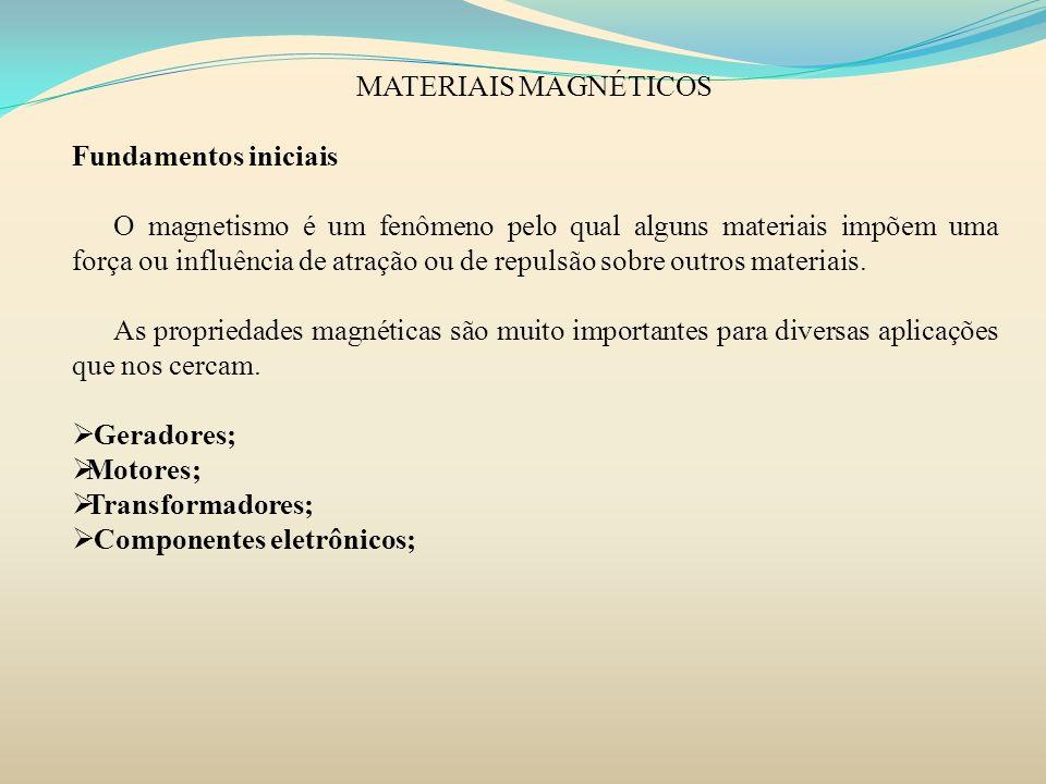MATERIAIS MAGNÉTICOS PARAMAGNETISMO Em certos materiais sólidos não há cancelamento total de todos os momentos magnéticos associado a cada elétron constituinte de um determinado átomo.