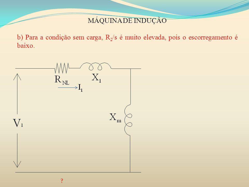 MÁQUINA DE INDUÇÃO b) Para a condição sem carga, R 2 /s é muito elevada, pois o escorregamento é baixo. ?