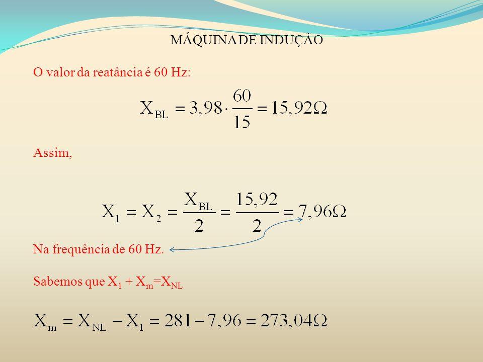 MÁQUINA DE INDUÇÃO O valor da reatância é 60 Hz: Assim, Na frequência de 60 Hz. Sabemos que X 1 + X m =X NL