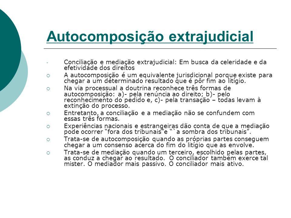 Autocomposição extrajudicial - Conciliação e mediação extrajudicial: Em busca da celeridade e da efetividade dos direitos A autocomposição é um equiva