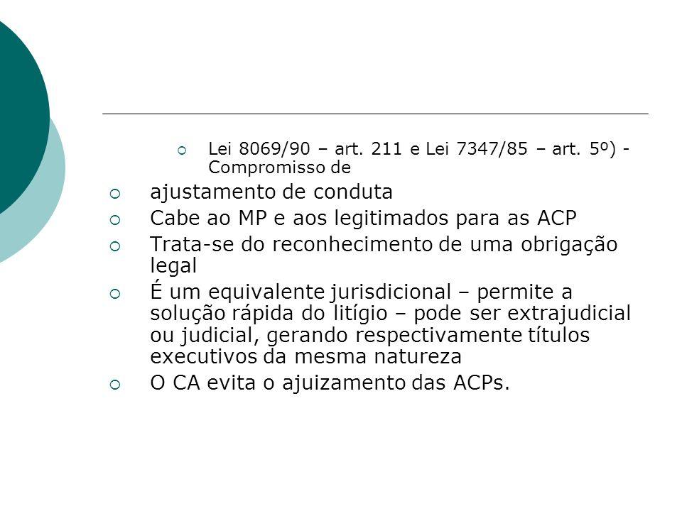 Lei 8069/90 – art. 211 e Lei 7347/85 – art. 5º) - Compromisso de ajustamento de conduta Cabe ao MP e aos legitimados para as ACP Trata-se do reconheci