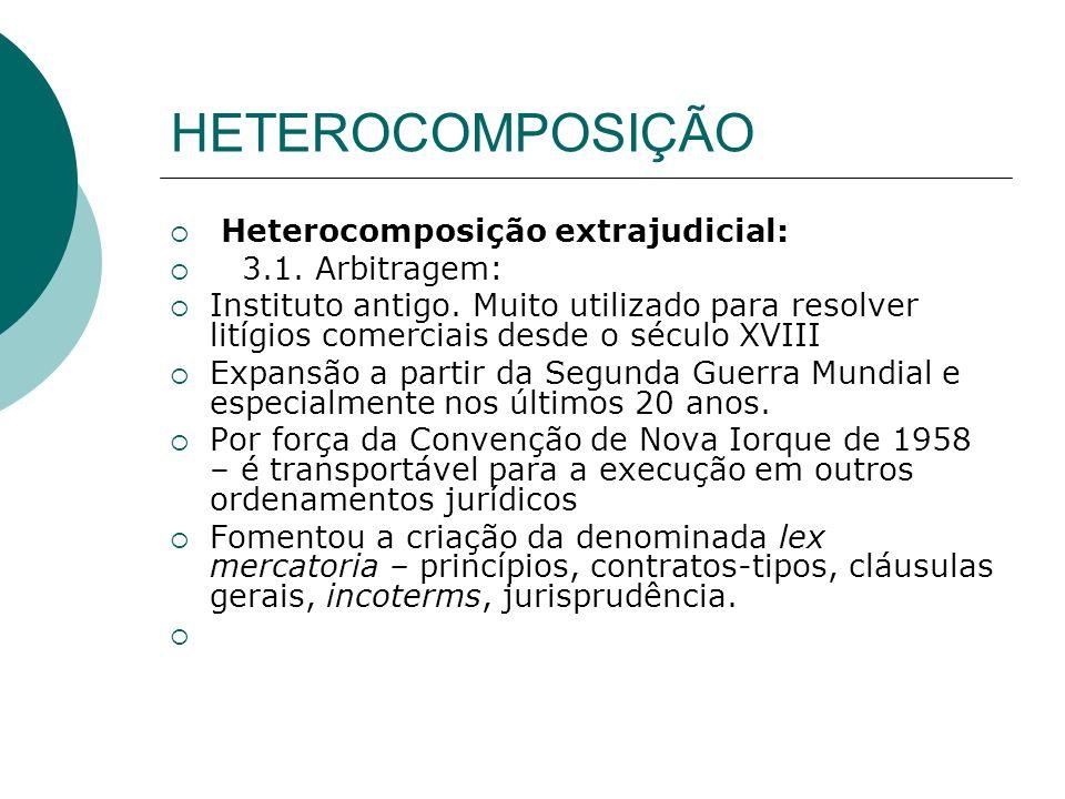 HETEROCOMPOSIÇÃO Heterocomposição extrajudicial: 3.1. Arbitragem: Instituto antigo. Muito utilizado para resolver litígios comerciais desde o século X