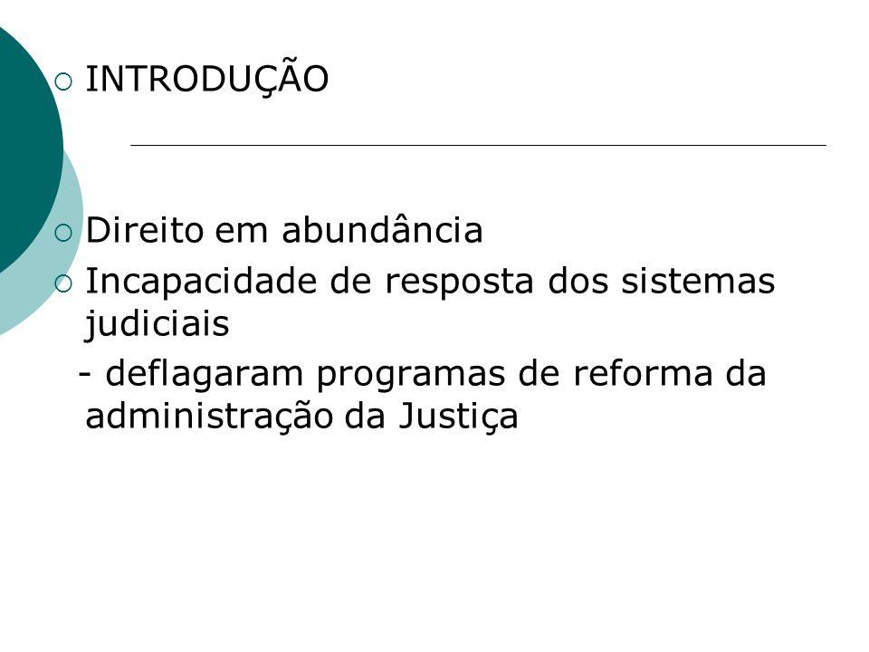 INTRODUÇÃO Direito em abundância Incapacidade de resposta dos sistemas judiciais - deflagaram programas de reforma da administração da Justiça
