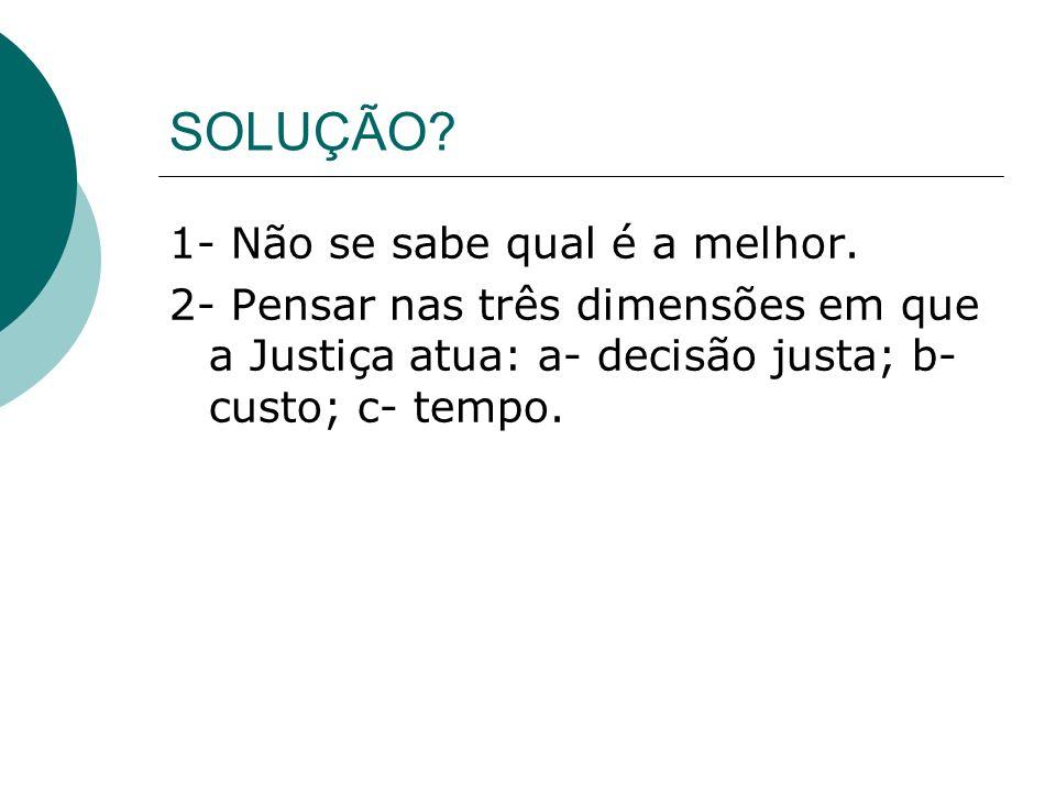 SOLUÇÃO? 1- Não se sabe qual é a melhor. 2- Pensar nas três dimensões em que a Justiça atua: a- decisão justa; b- custo; c- tempo.