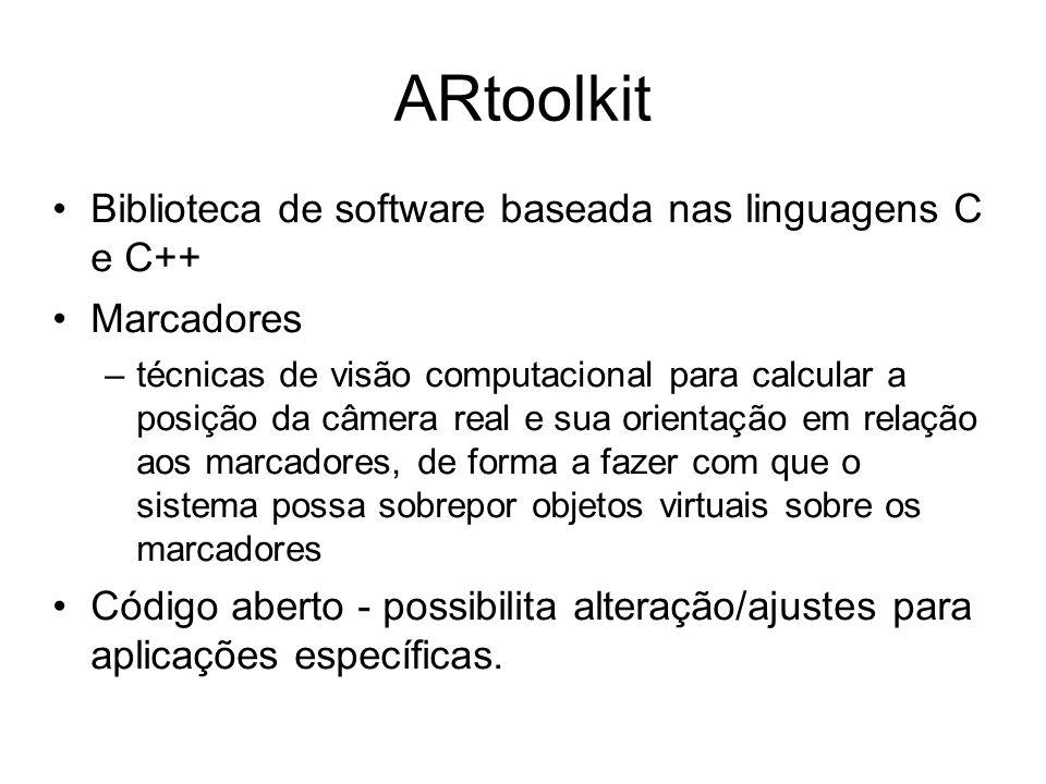 ARtoolkit Biblioteca de software baseada nas linguagens C e C++ Marcadores –técnicas de visão computacional para calcular a posição da câmera real e sua orientação em relação aos marcadores, de forma a fazer com que o sistema possa sobrepor objetos virtuais sobre os marcadores Código aberto - possibilita alteração/ajustes para aplicações específicas.