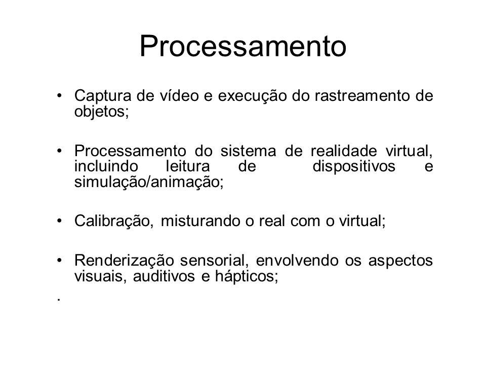Processamento Captura de vídeo e execução do rastreamento de objetos; Processamento do sistema de realidade virtual, incluindo leitura de dispositivos e simulação/animação; Calibração, misturando o real com o virtual; Renderização sensorial, envolvendo os aspectos visuais, auditivos e hápticos;.