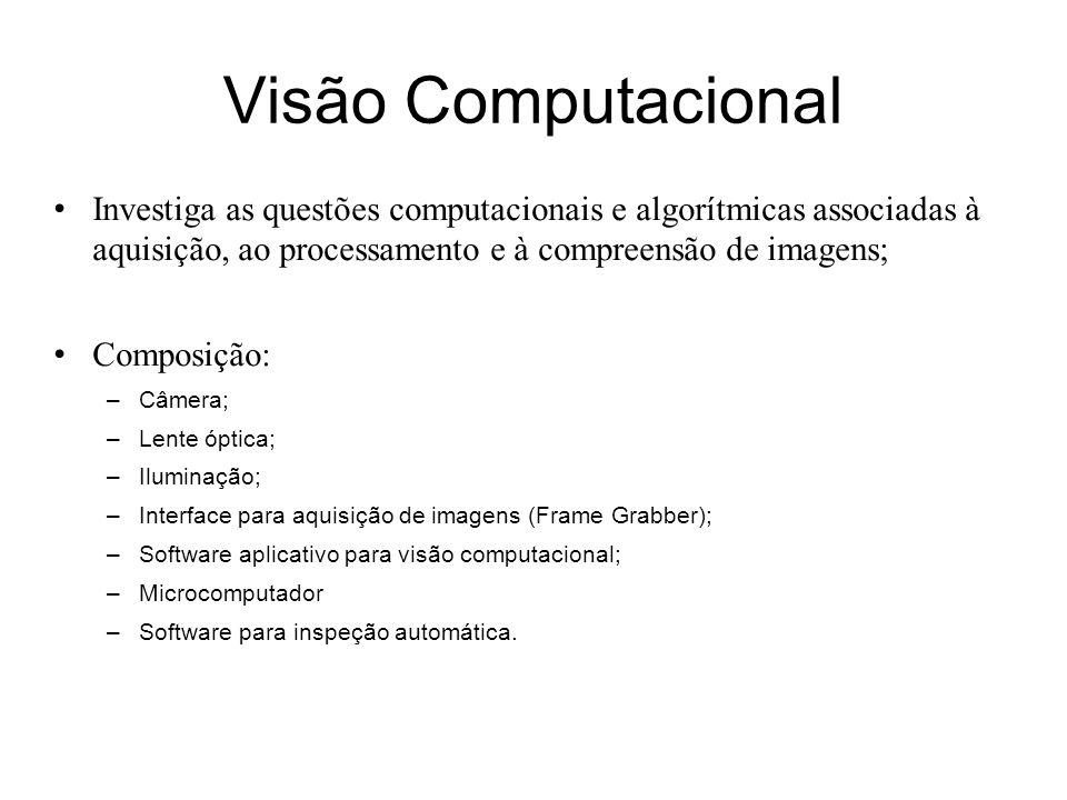 Visão Computacional Investiga as questões computacionais e algorítmicas associadas à aquisição, ao processamento e à compreensão de imagens; Composição: –Câmera; –Lente óptica; –Iluminação; –Interface para aquisição de imagens (Frame Grabber); –Software aplicativo para visão computacional; –Microcomputador –Software para inspeção automática.