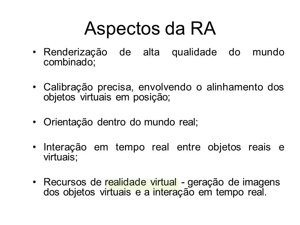 Aspectos da RA Renderização de alta qualidade do mundo combinado; Calibração precisa, envolvendo o alinhamento dos objetos virtuais em posição; Orientação dentro do mundo real; Interação em tempo real entre objetos reais e virtuais; Recursos de realidade virtual - geração de imagens dos objetos virtuais e a interação em tempo real.