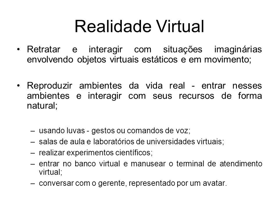 Realidade Virtual Retratar e interagir com situações imaginárias envolvendo objetos virtuais estáticos e em movimento; Reproduzir ambientes da vida re